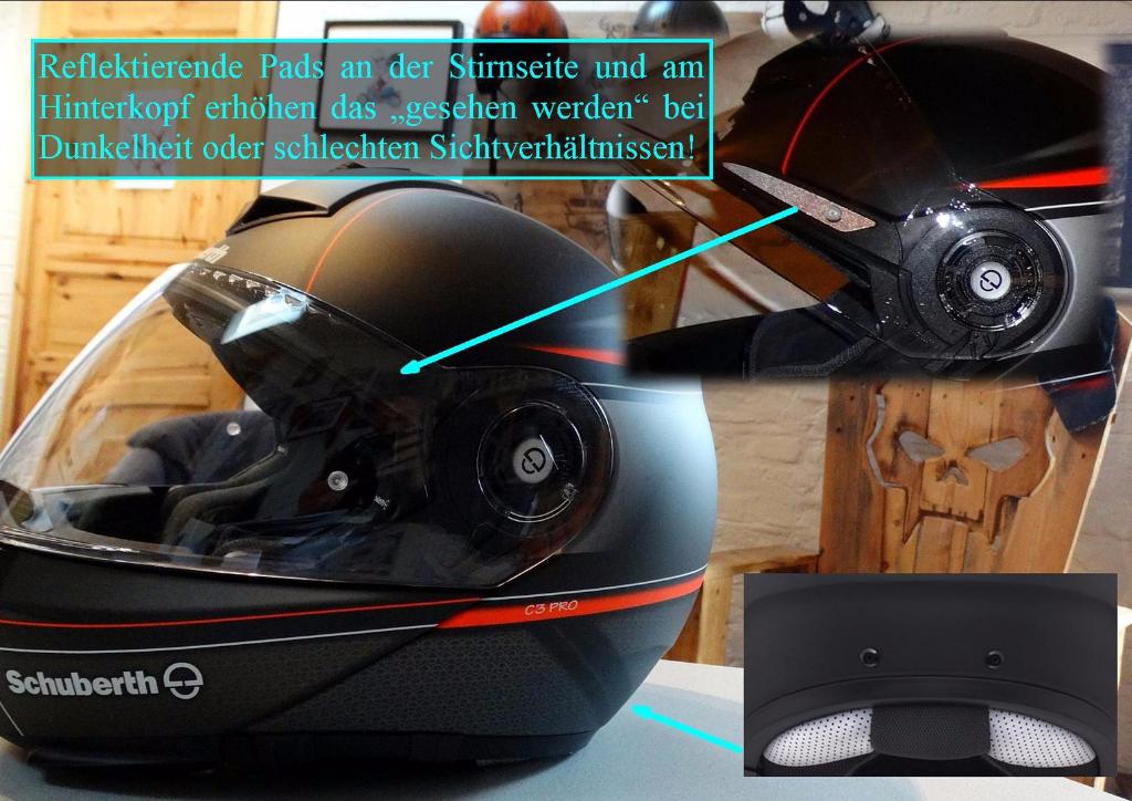 SCHUBERTH C3 Pro mit reflektierende Pads an der Stirnseite und am Hinterkopf